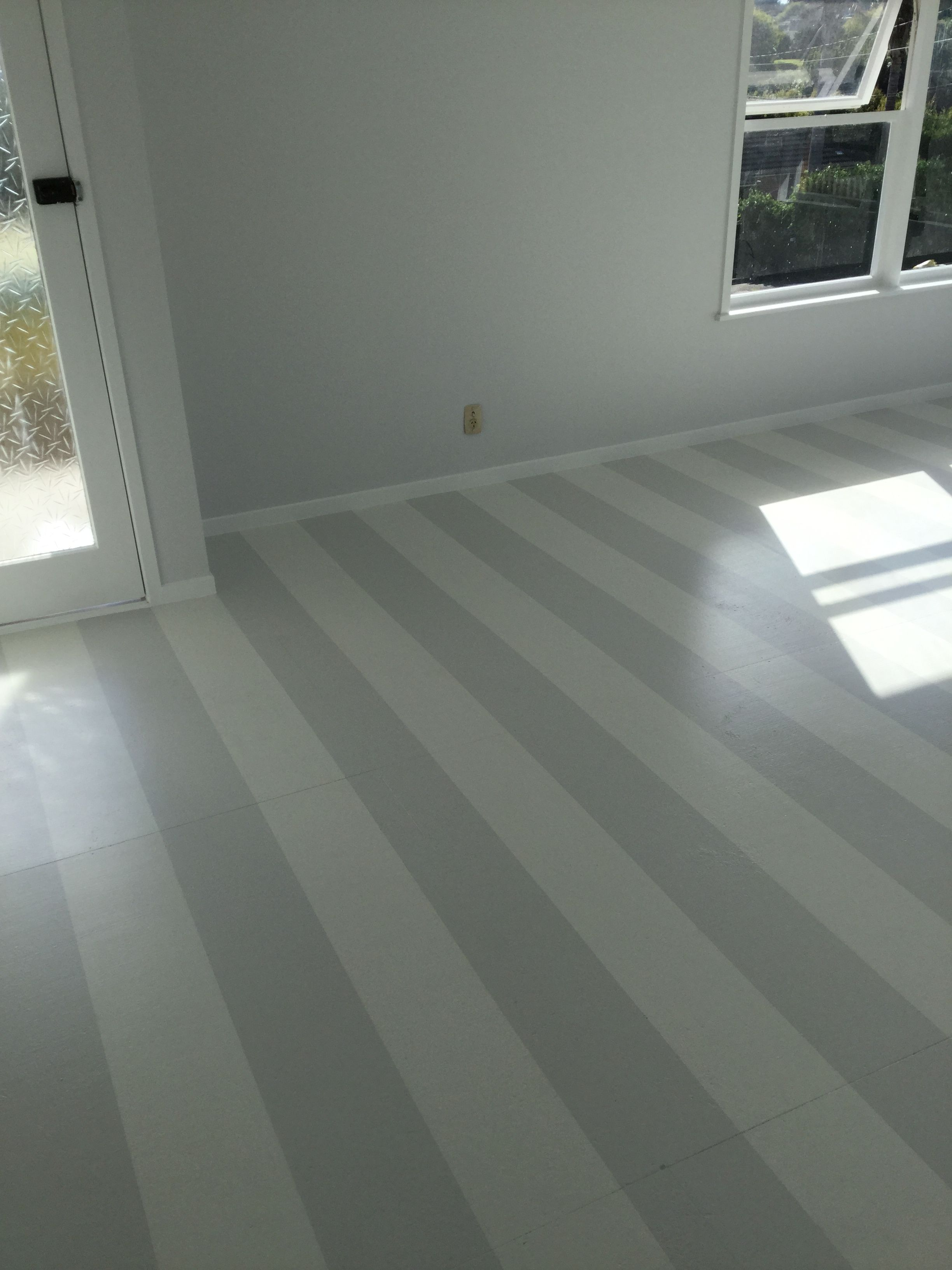 Grey And White Stripe Floor Painted Over Chipboard Resene Concrete And Wan White Bedroom Flooring Flooring Concrete Floors Bedroom