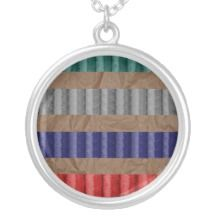 Colored Ribbed Cardboard Brown Paper Personalized Necklace