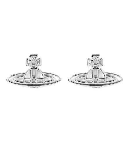 Vivienne Westwood Jewellery Thin Lines Flat Orb Stud Earrings Silver