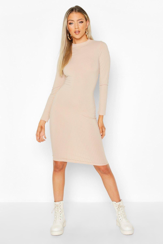 Ribbed High Neck Long Sleeved Midi Dress Boohoo Long Sleeve Midi Dress Ribbed Bodycon Dress Long Sleeve Midi [ 1500 x 1000 Pixel ]