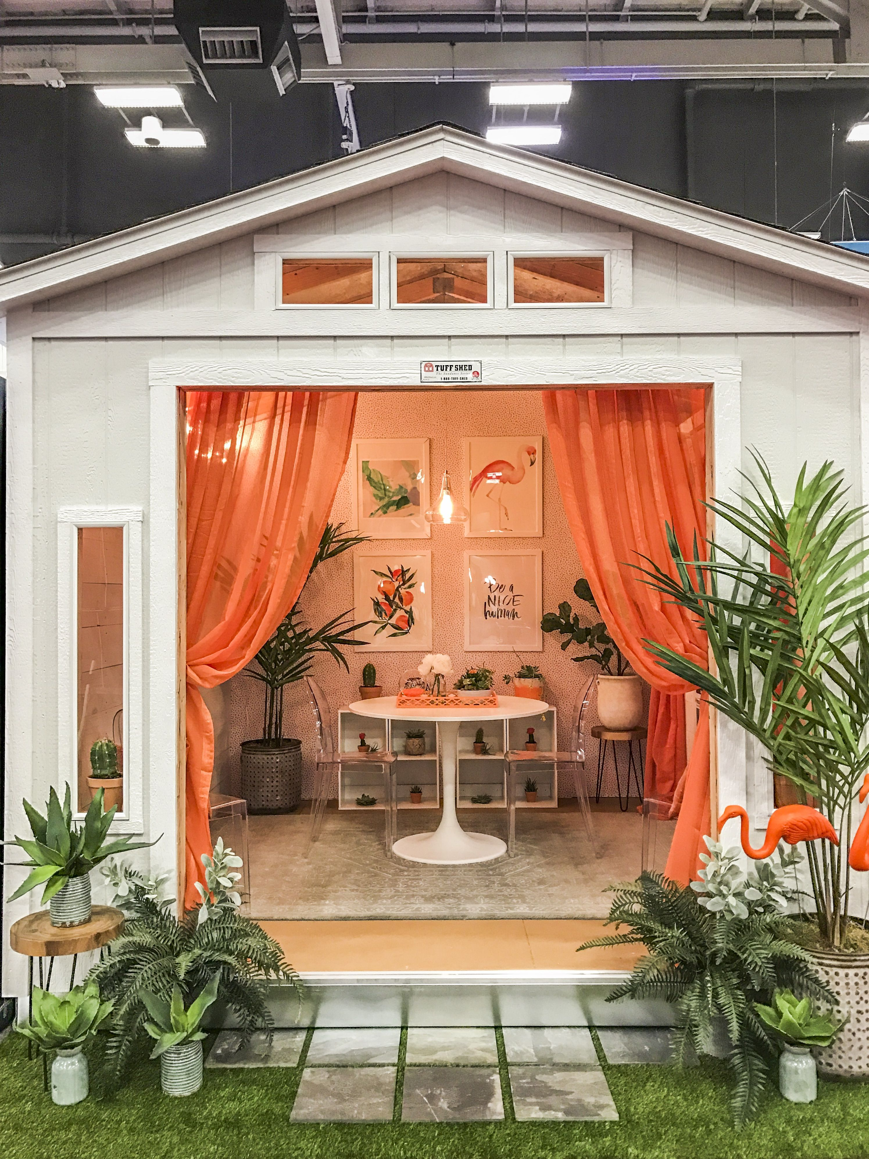 We\u0027re all about this retro modern she shed! With succulents, café ...