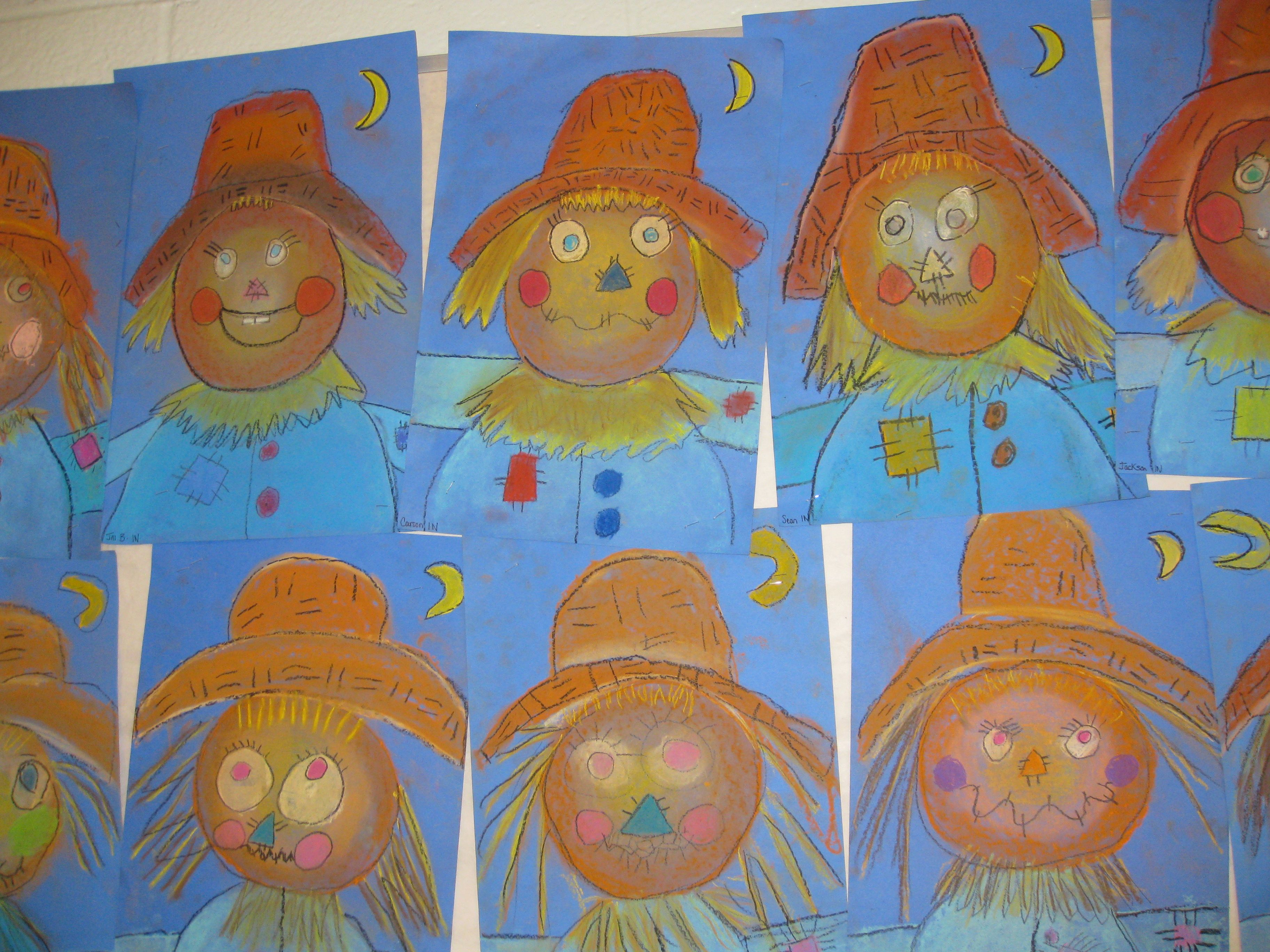 1st Grade Pastel Scarecrows