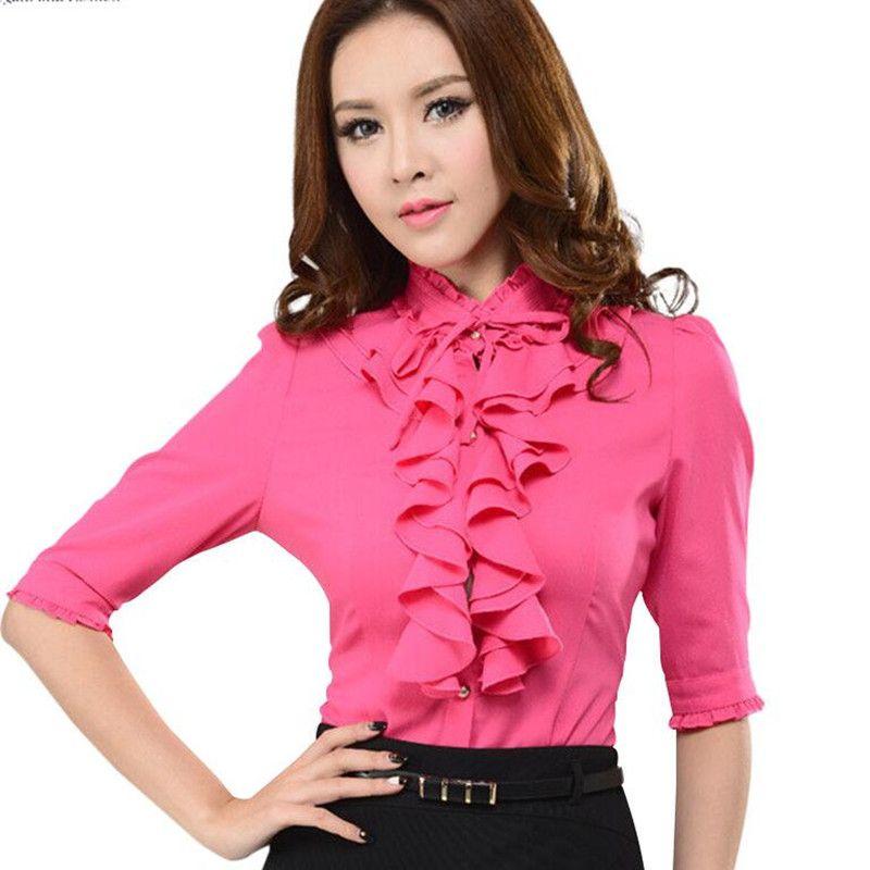 c5ec1f4ad1dab Camisa femenina OL de moda Media manga de cuello alto rojo de la Rosa  oficina Formal elegante volantes de gasa blusa de las mujeres más el tamaño  del arco ...