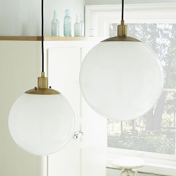 West elm globe pendant in milk finish inexpensive lighting maybe just in the main area