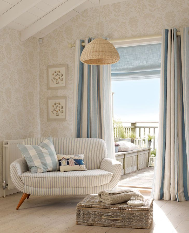 Awning Stripe Seaspray Fabric Coastal Decorating Living Room Coastal Living Rooms Coastal Living Room