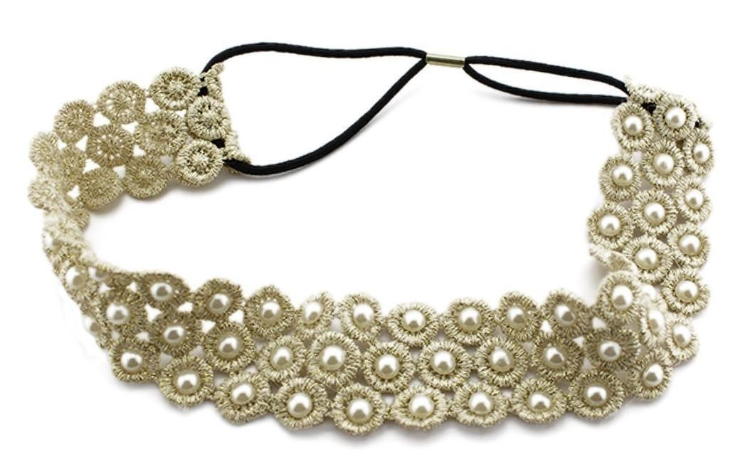 BONAMART Pearl Lace Elastic Hair Head for women..