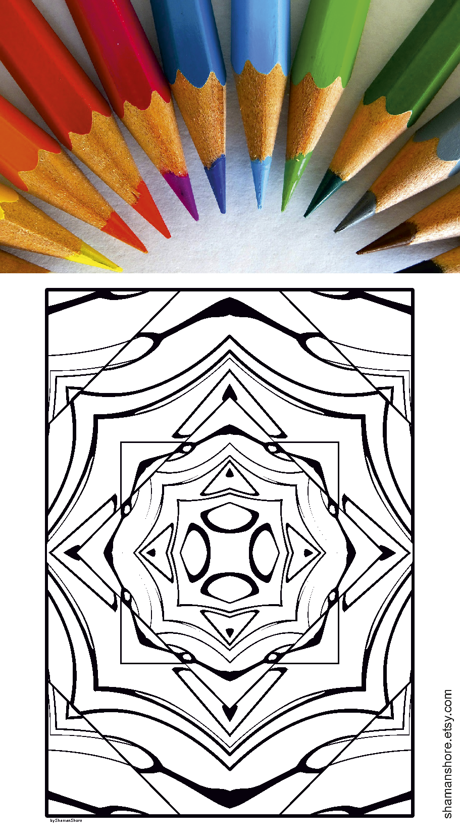 Pdf Adult Coloring Book 20 Abstract Kaleidoscope Coloring Pages For
