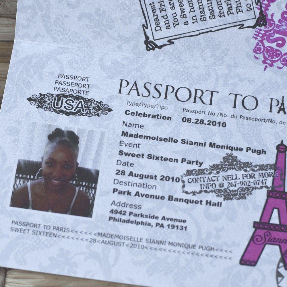Passport Invitation Design Fee (Sweet Sixteen Paris-Themed Design ...
