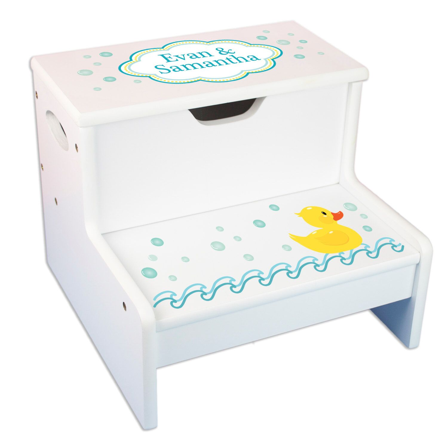 Personalized Bath Stool Rubber Ducky Step Stool with Storage for ...