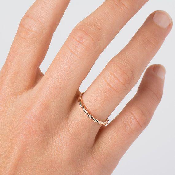Braided Wedding Ring 14k 18k Solid Gold Ring Rose Gold Etsy Braided Wedding Rings 14k Wedding Rings Etsy Gold Ring