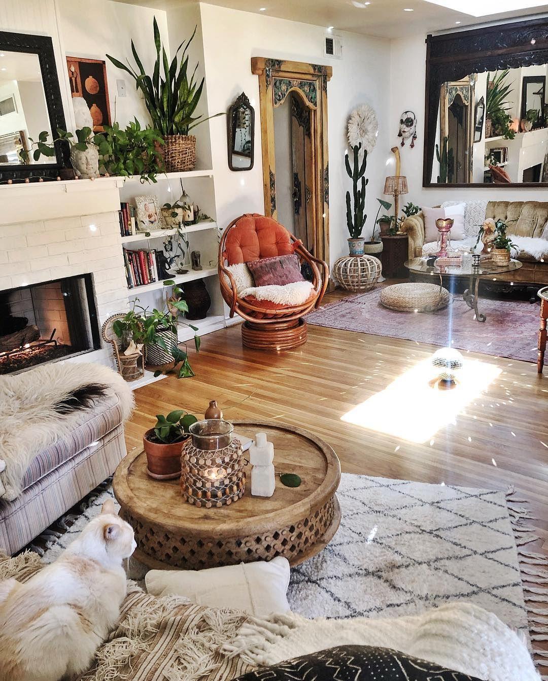 Boho Living Room Decor Plants Rug Textures Boho Living