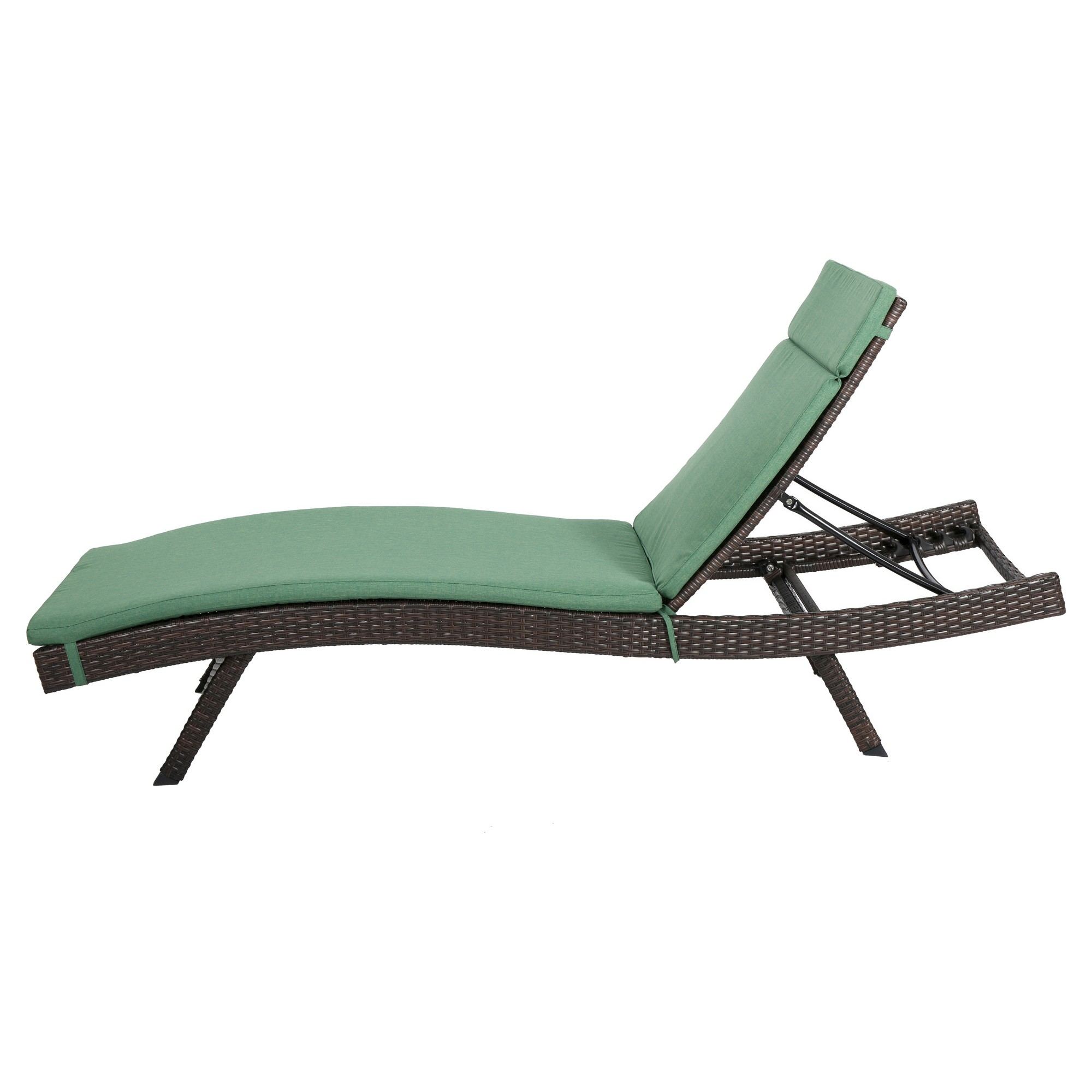 Outdoor Wicker Adjustable Chaise Lounge Brown With Green Cushion