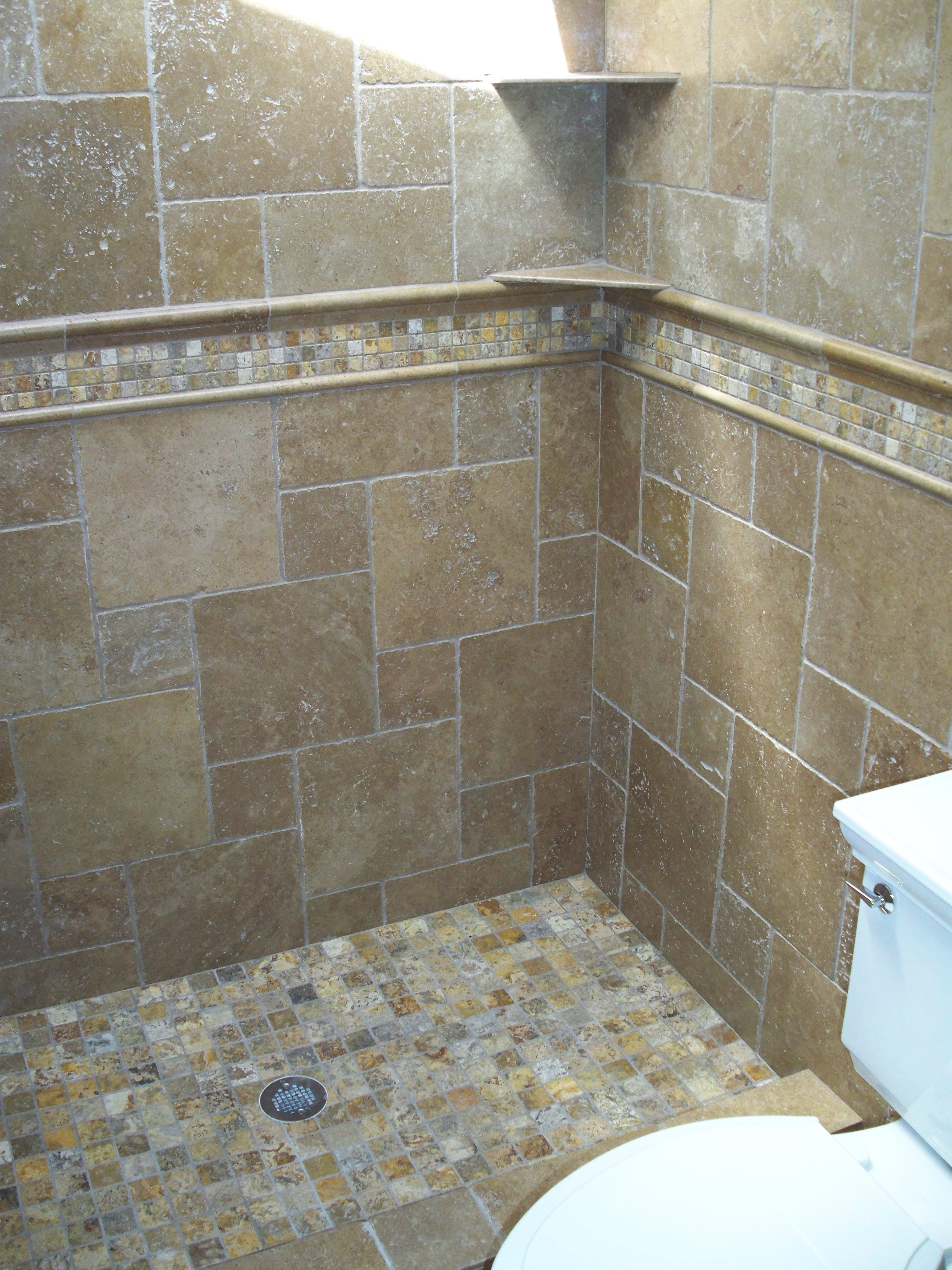 Autumn Leaves 2x2 travertine mosaic tiles and Noce tumbled ...