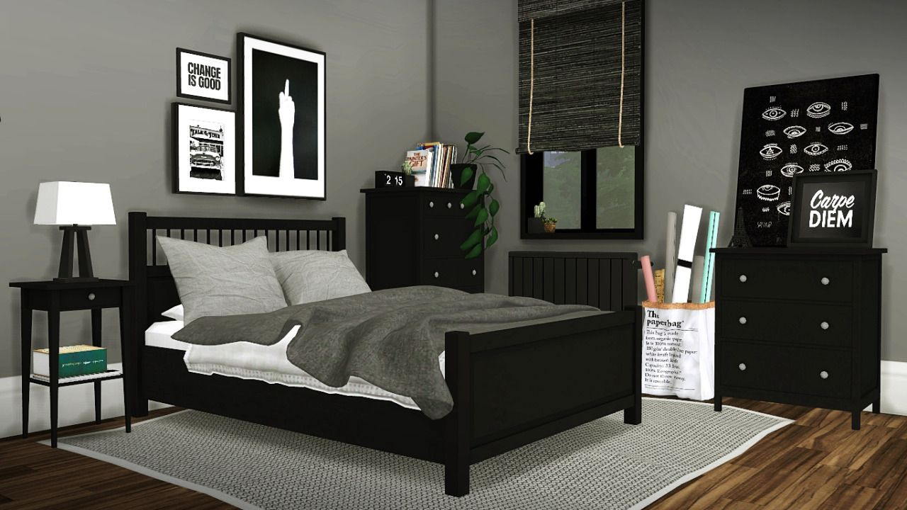 IKEA Hemnes O Bed Merged With Mattress Mesh Edited Bedside Table Dresser