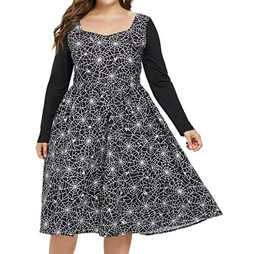 52a798beaf18bf OldSch001 Halloween Costume Womens Cobweb Print Zipper Long Sleeve  Halloween Party Dresses(Black
