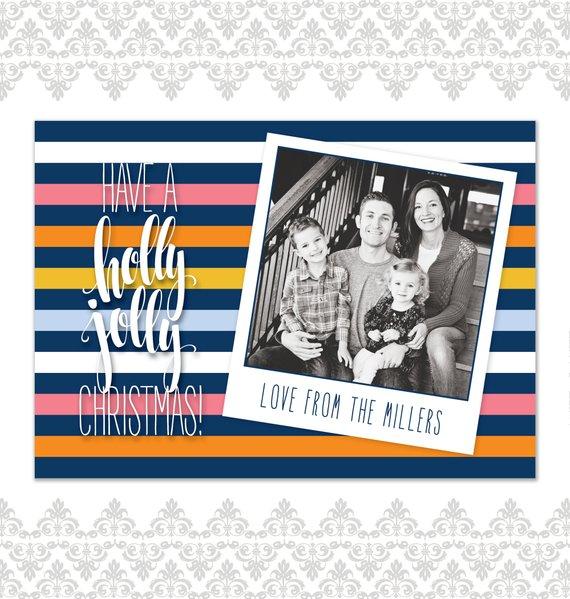 Modern Stripes Holiday Polaroid Photo Card FILE (print At