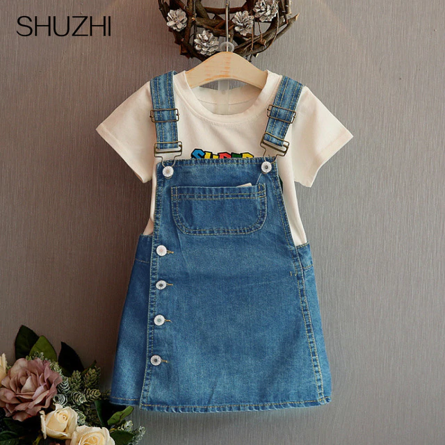 Summer Style Girls Straps dress cute denim Kids Sundress For Girl Party Dresses Child Party Birthday clothes