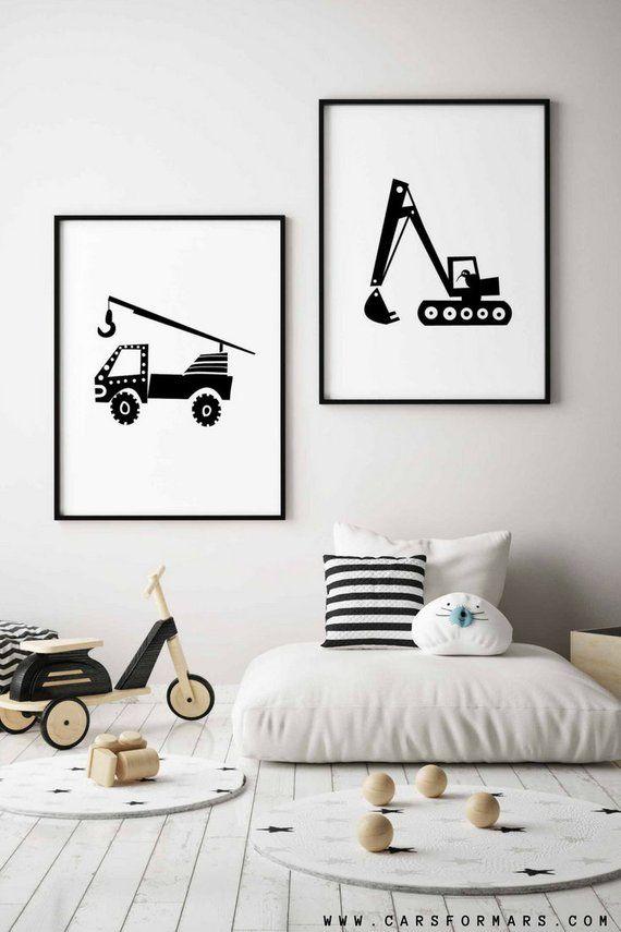 Black And White Truck Nursery Wall Art, Construction Print, Transportation Art, Cars Wall Art, Insta images