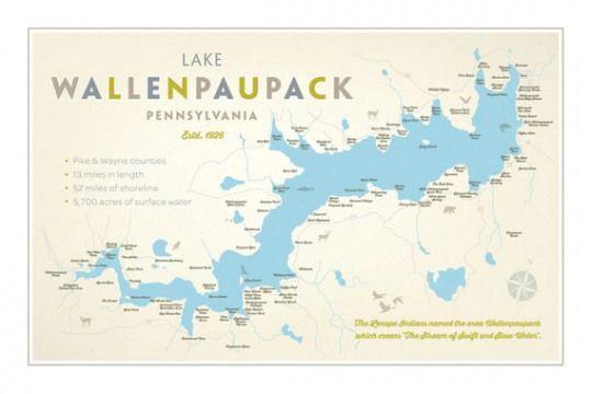 Photo of Lake Wallenpaupack PA Print – 'Karte'. #recreationalroom #recreational #room #sign …, #LAKE # …