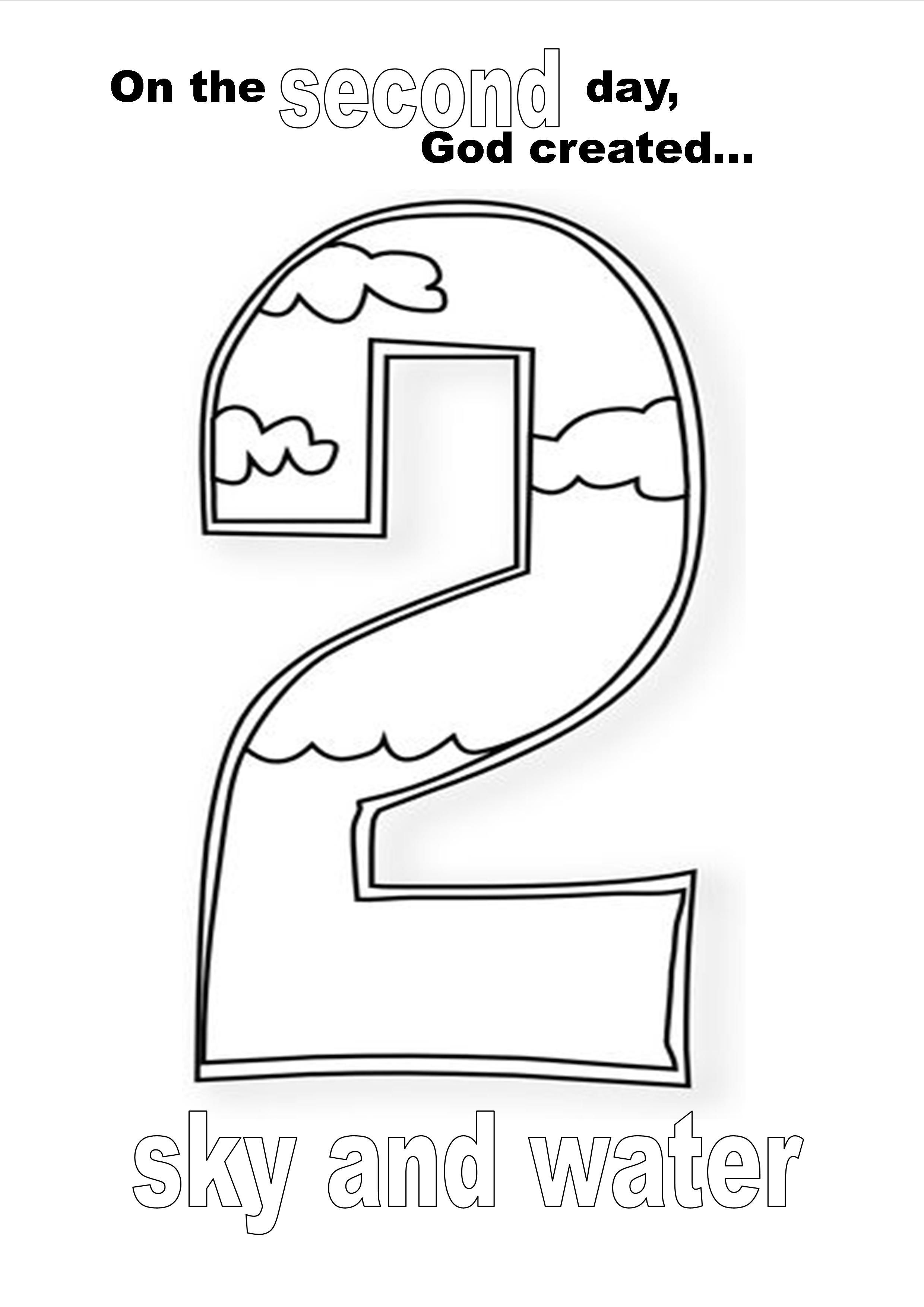 Creation Day Two Coloring Page New Year Pages Sketch Coloring Page