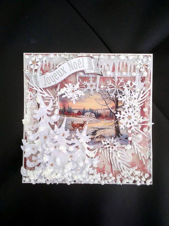 carte de noël nouvel an fait-main 3d shabby fêtes de fin