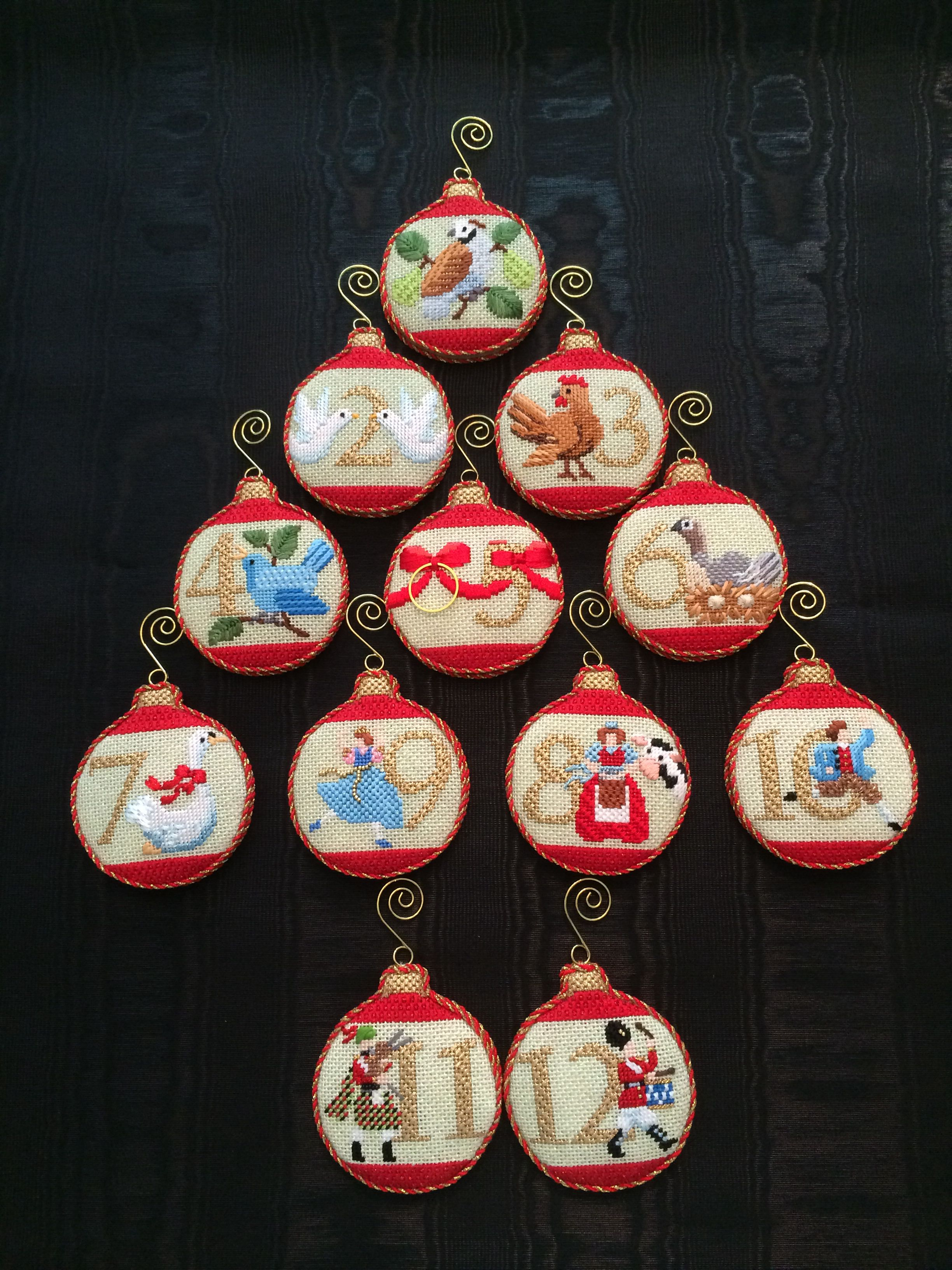 12 Days Of Christmas Ornaments Canvas By Kirk Bradley Cross Stitch Christmas Ornaments 12 Days Of Xmas Needlepoint Ornaments