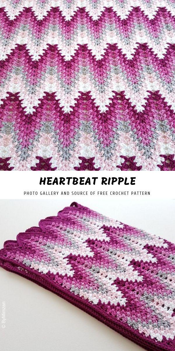 Heartbeat Crochet Ripple with Free Pattern | Decken | Pinterest ...