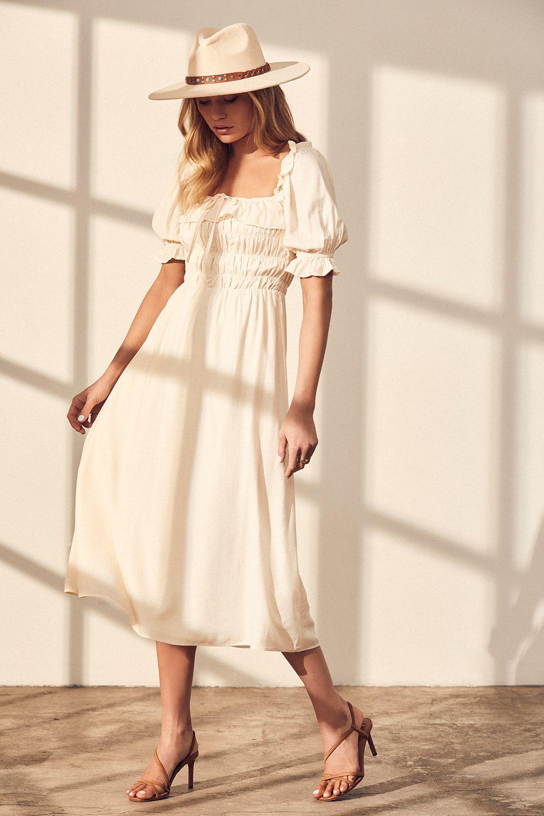 Nahanni Cream Puff Sleeve Smocked Midi Dress Midi Dress Tiered Midi Dress Fashion [ 1680 x 1120 Pixel ]