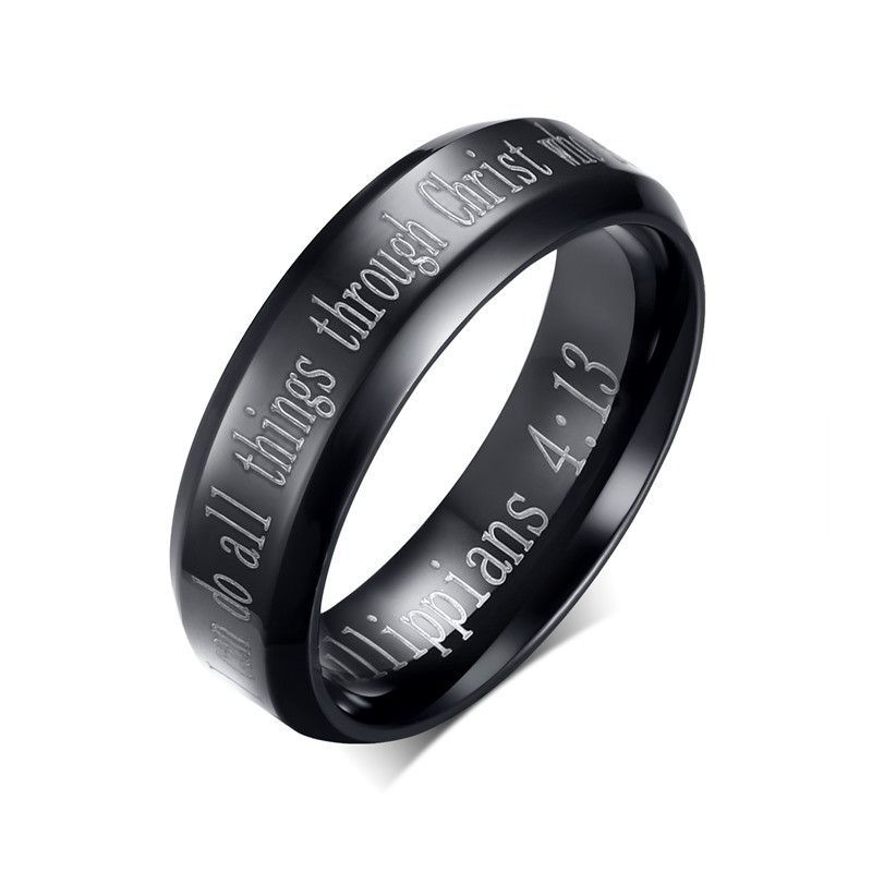 Mens Stainless Steel Ring 6mm English Promise Wedding Band Black Mens Stainless Steel Rings Black Wedding Band Mens Black Ring