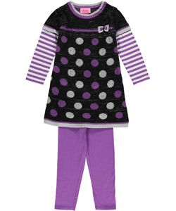 "Young Hearts ""Bow & Dots"" 2-Piece Outfit (Sizes 2T – 4T)"