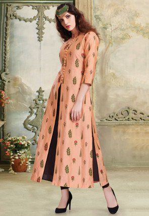 e45ea1f6b2 Hand Embroidered Chanderi Silk Front Slit A Line Suit in Peach | okk ...