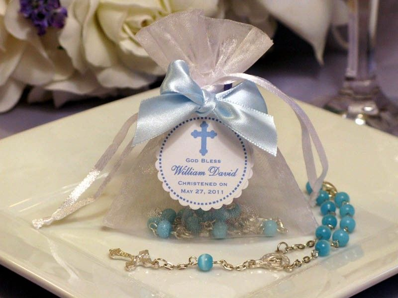 Baptism christening mini rosary in organza bag favors via etsy baptism and - Boy baptism favors ideas ...