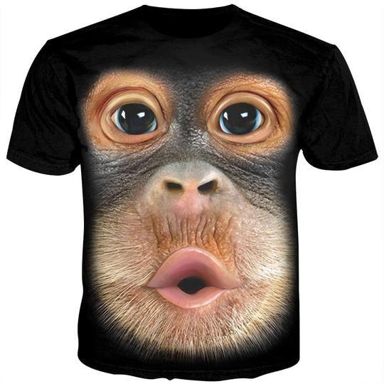5f5c5bf0da Cloudstyle 3D Animal Tshirt Male Funny Monkey Gorilla Tee Shirt Unisex –  geekbuyig