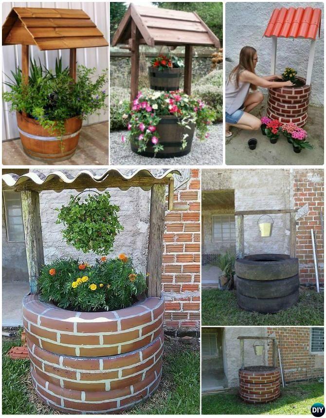 DIY Wishing Well Tire Planter   DIY Tire Planter Ideas