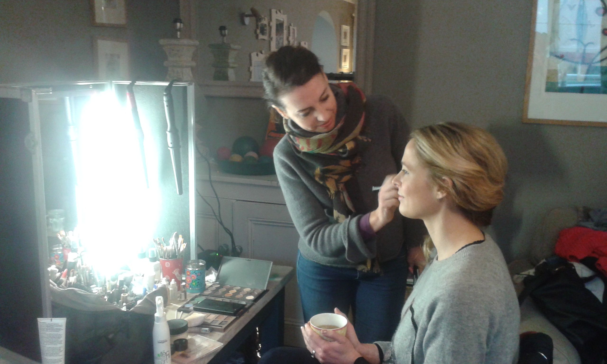 Amelia gets her make up done