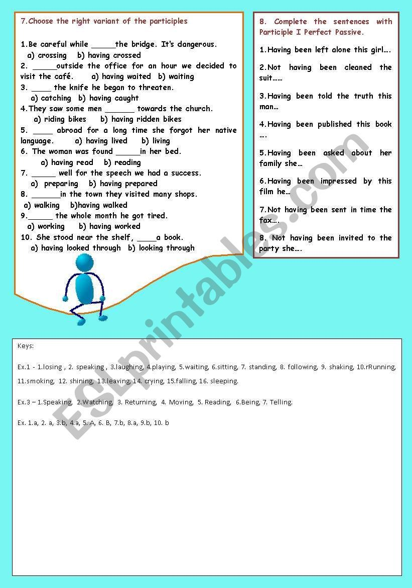 Participle I Simple And Participle I Perfect Exercises For Writing And Speaking A Key Grammar Worksheets Writing Exercise