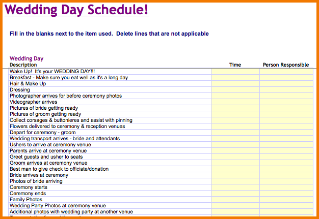 wedding day schedule template microsoft excel templates wedding