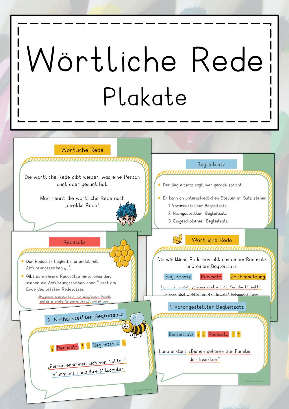 Wortliche Rede Direkte Rede Plakate Unterrichtsmaterial Im Fach Deutsch Wortliche Rede Deutsch Unterricht Unterrichtsmaterial