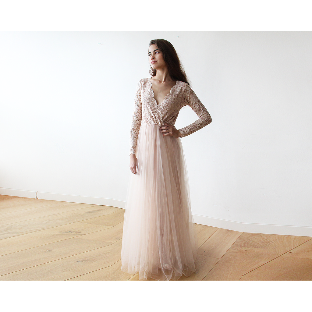 Blush pink tulle and lace long sleeve maxi dress bridal