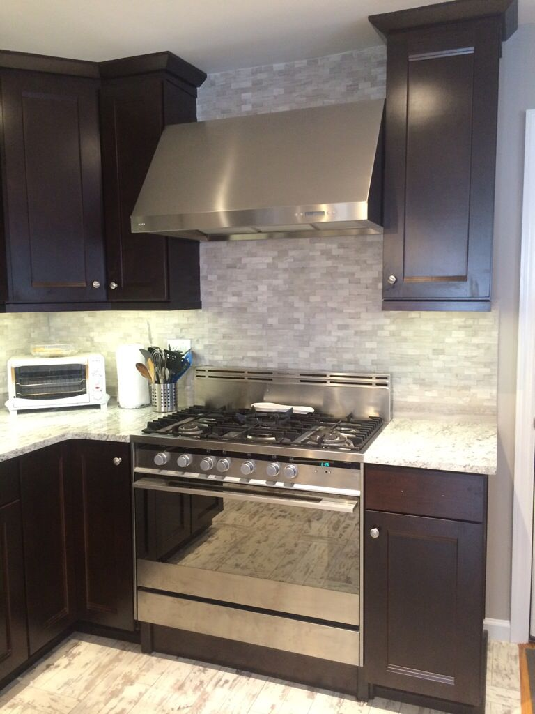 Arietta 36 Hood Stainless Steal White River Countertops American Woodmark Java Dal Rey Cabinets Home Depot Grey Marble S Kitchen Design Home Remodeling Home