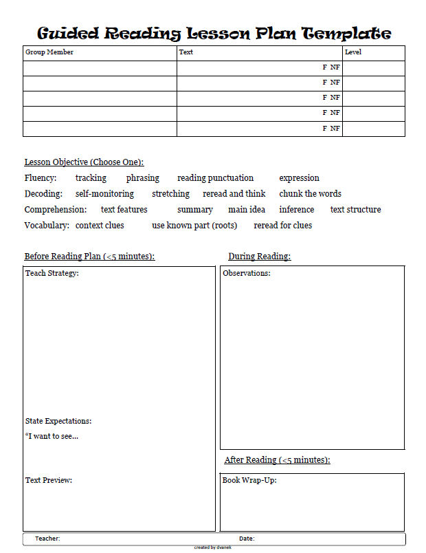 Guided Reading Planning Sheets Freebie Guided Reading Kimball