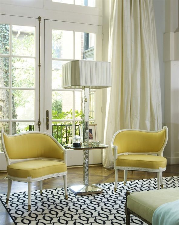 Yellow Chairs For Living Room Wall Cabinet Jan Showers Rooms Accent Chair French Doors In Ivory