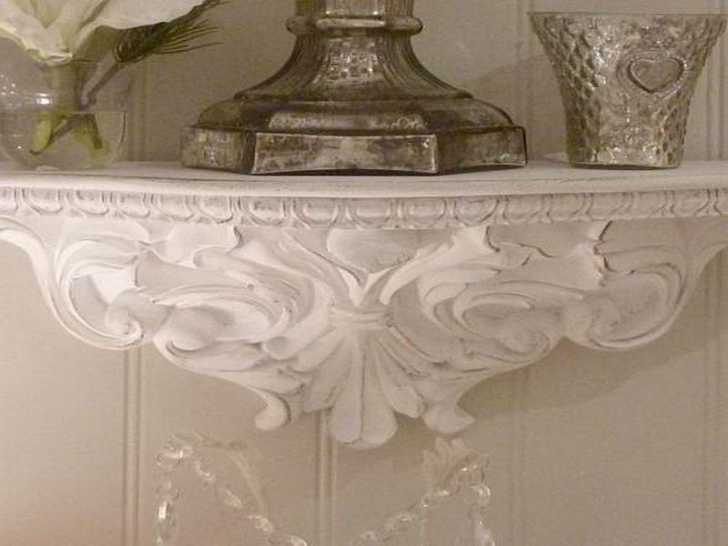 White Ornate Wall Shelves