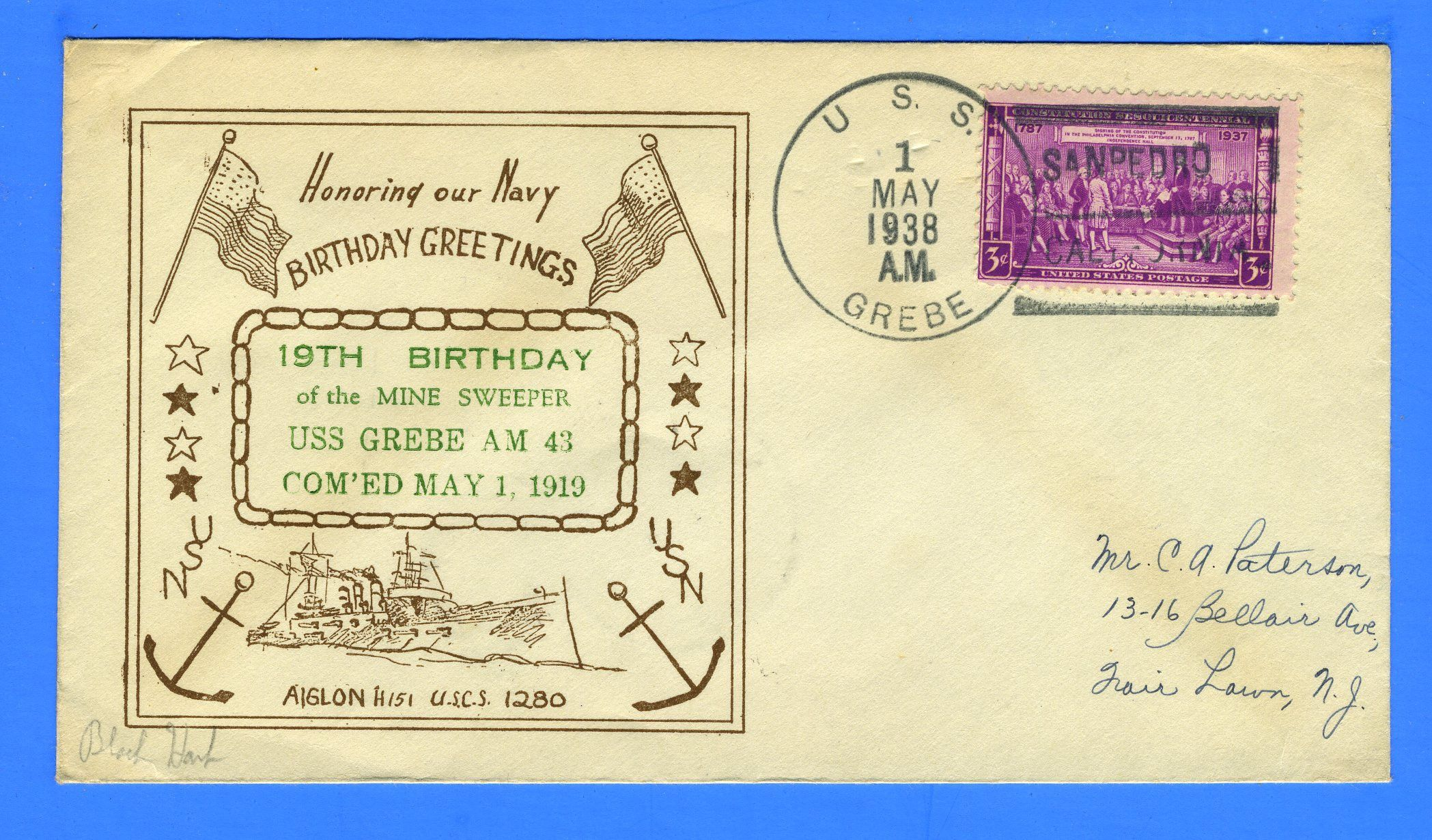 USS Grebe AM43 19th Anniversary of Commissioning May 1