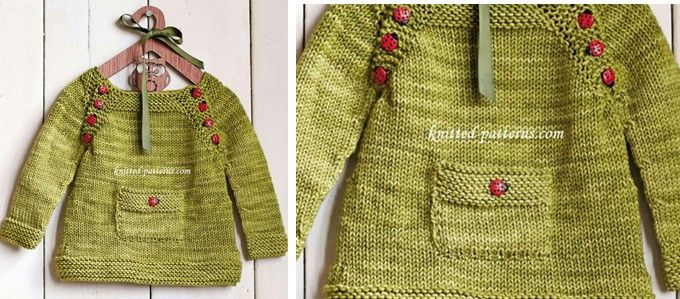 Ladybird Knitted Baby Pullover [FREE Knitting Pattern]