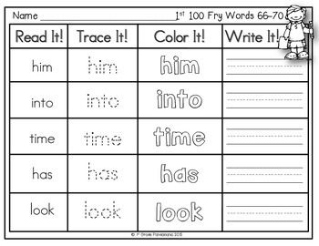 Fry Sight Word Read, Trace, Color, Write It! Centers for 1st 100 Fry ...