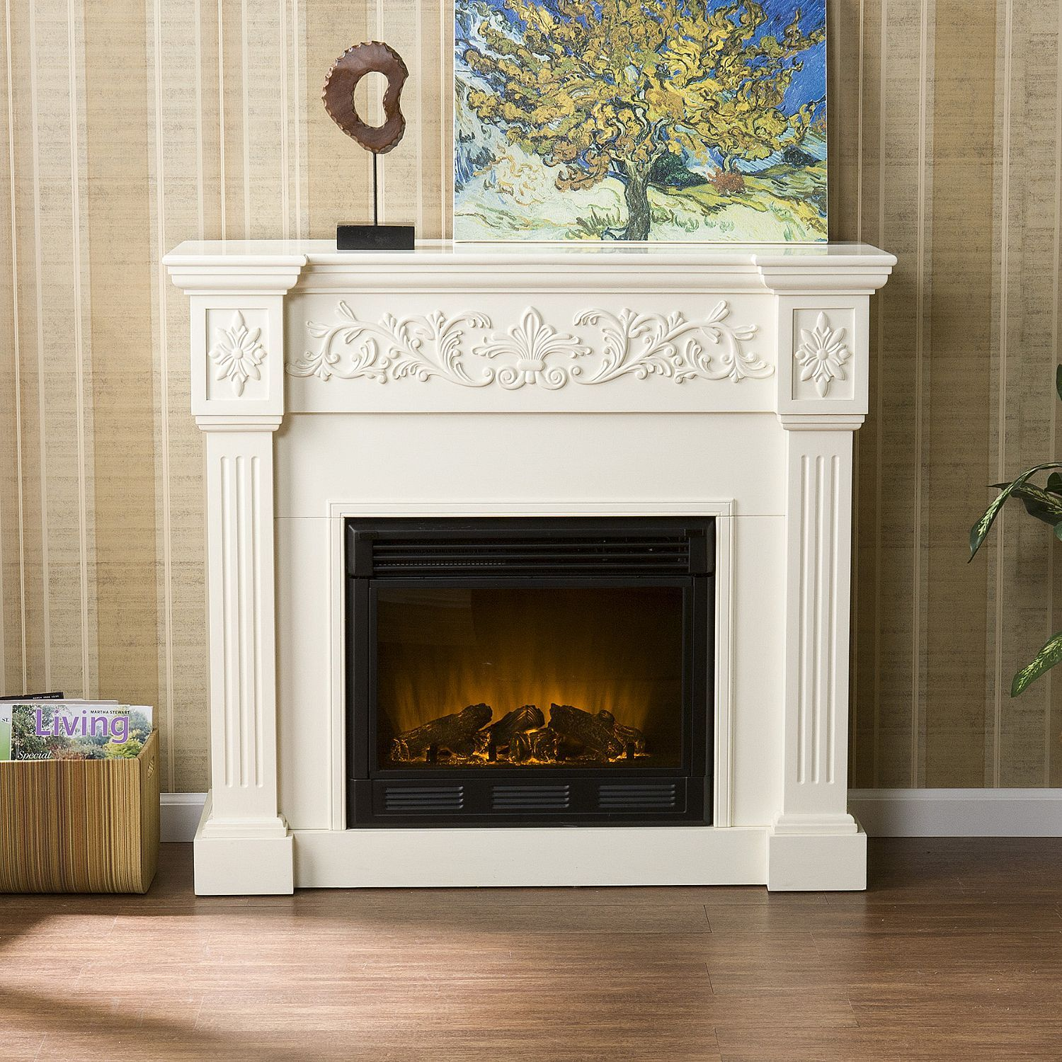 Del Ray Electric Fireplace Ivory Freestanding - Cheminées Le Ray