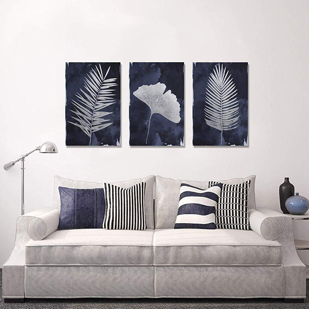 Framed large canvas navy blue wall art for home 3 panels