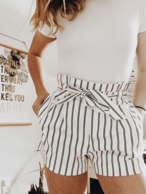 Photo of Paper-bag Shorts – Black/striped – Ladies   H&M US