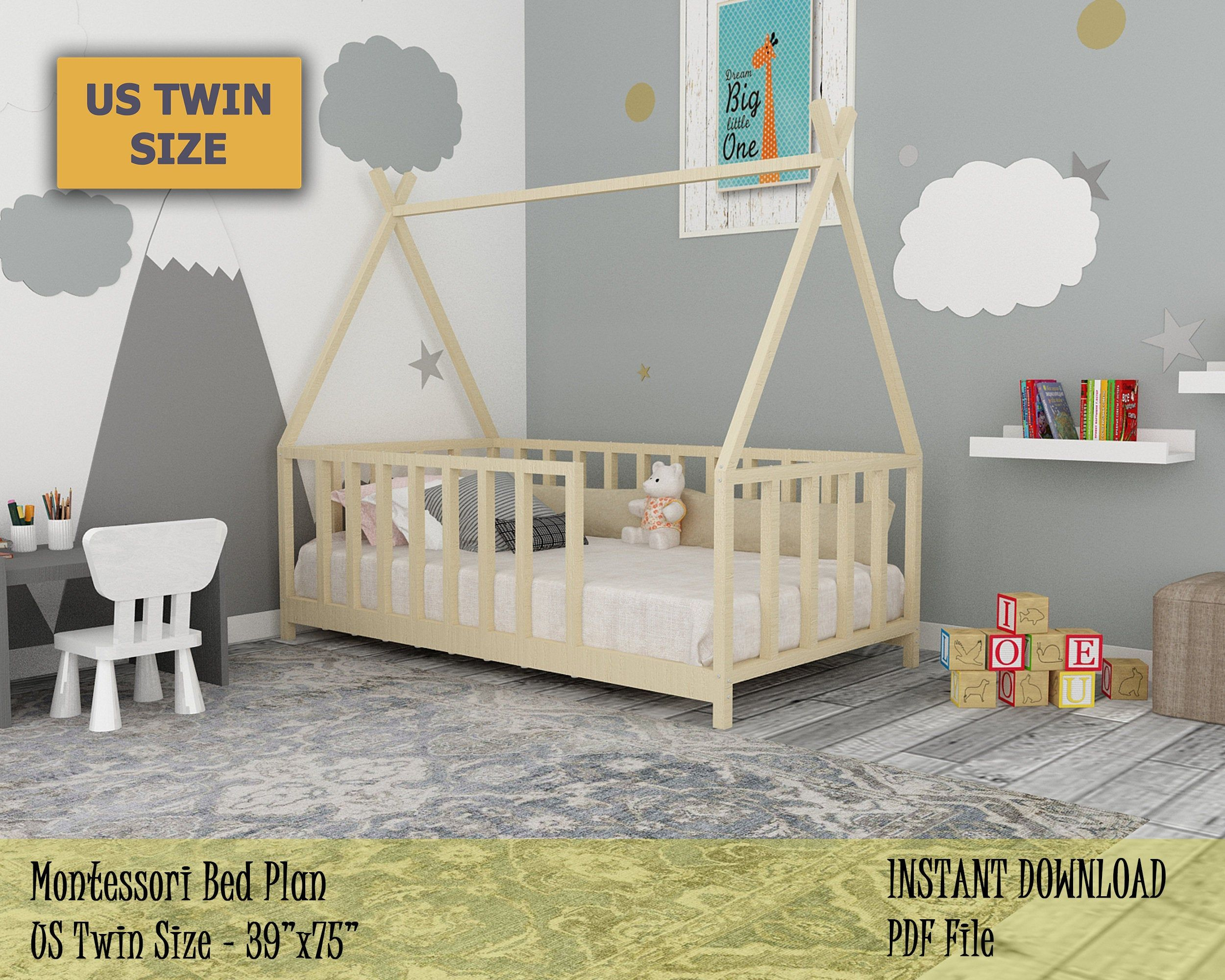 Montessori Bed Twin House Bed Frame Plan, Easy and